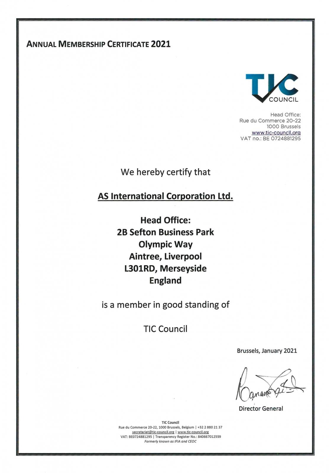 TIC Council Membership Certificate