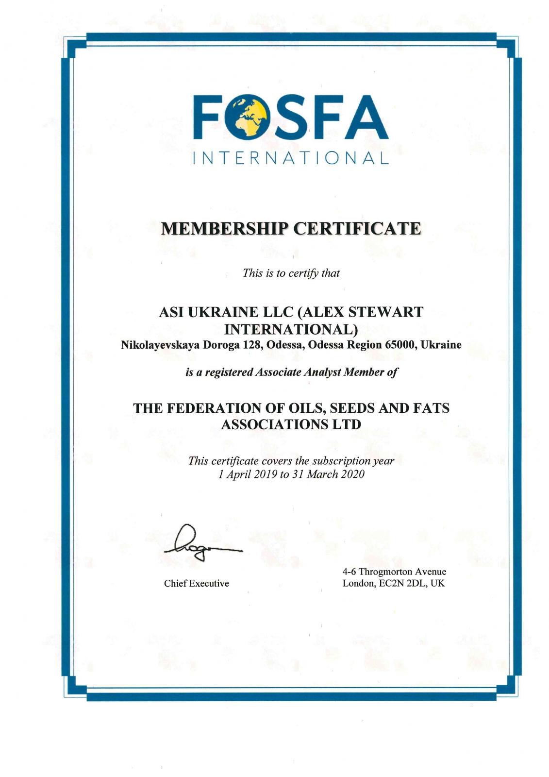 ASI Ukraine LLC FOSFA Associate Analyst Member 2019
