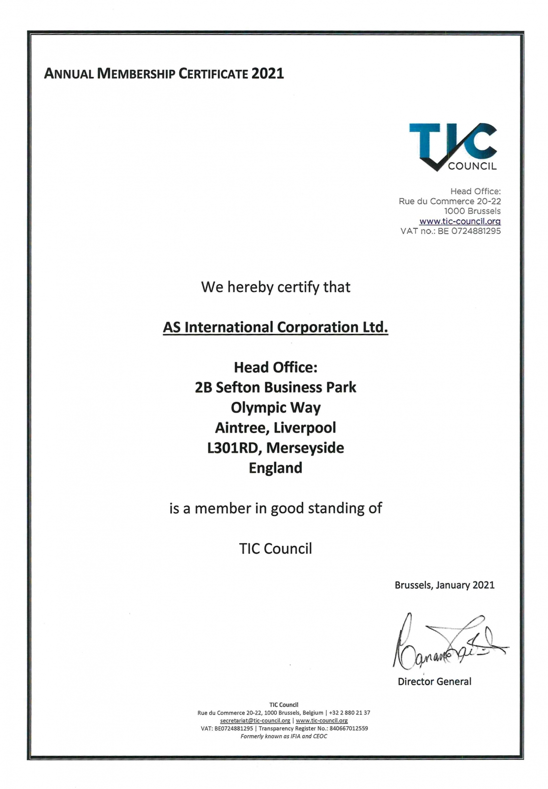 Сертификат членства TIC Council